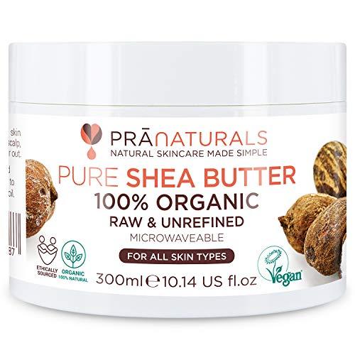 PraNaturals 100% biologische karitéboter 300 ml, Ruwe ongeraffineerde extra vierge, A-kwaliteit Afrikaanse puur ivoor, Puur natuurlijk, Zachte karitè lippenbalsem, Lichaamsbutter, Hydraterende