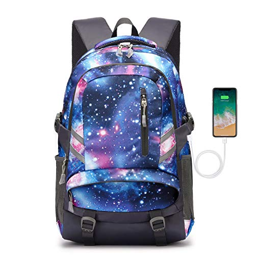 Rugzak voor heren, schoolrugzak, laptoprugzak voor jongens en meisjes, voor 15,6 inch laptop, uniseks, lichte 30 liter, dagrugzak met USB-aansluiting voor dames en heren, A-galaxis, Eén maat, rugzak.