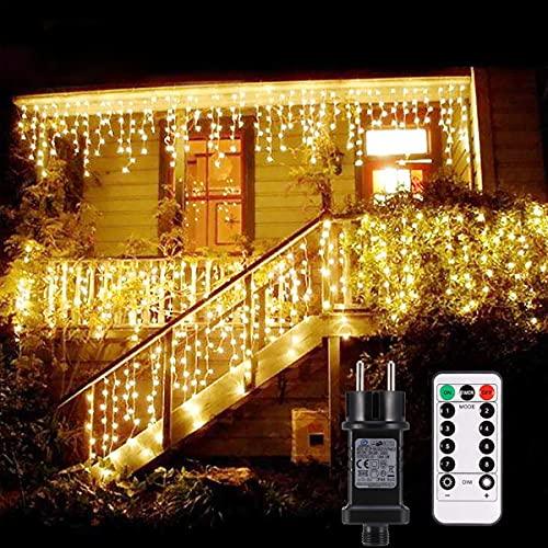 Lichtketting buiten B-right 480 Led lichtketting elektrisch bediend, lichtketting warm wit met afstandsbediening, lichtketting binnen lichtgordijn Kerstverlichting voor kerstbalkon huwelijksfeest