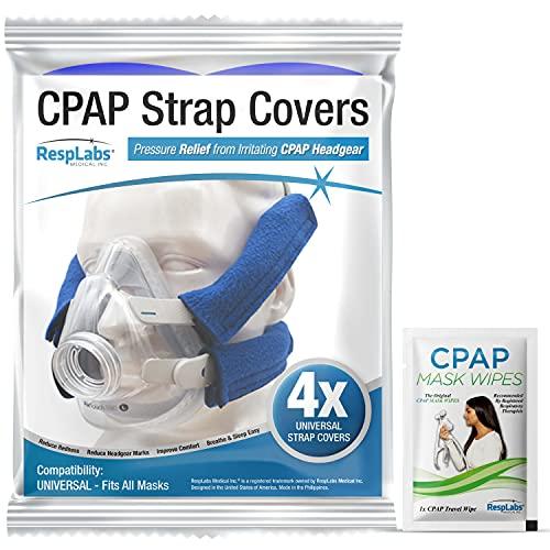 RespLabs CPAP-bandhoezen - Universeel Pakket van 4 - Herbruikbaar, Multi-fit, Comfortverhogend. Zachte, Wasbare, Ademende Stoffen Omslagen