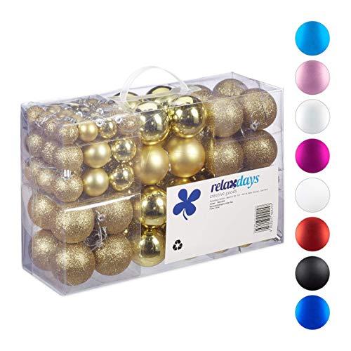Relaxdays Kerstballen, 100-delige set, kerstdecoratie, mat, glanzend, glinsterend, kerstballen met een diameter van 3, 4 en 6 cm, goud, PS, 7 x 6 x 6 cm