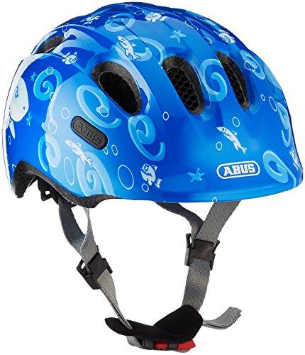 ABUS Smiley 2.0 kinderhelm - robuuste fietshelm voor meisjes en jongens - 72574 - blauw met haai-patroon, maat S