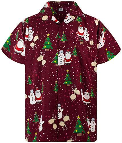 Funky Hawaiiaans Overhemd, Hawaii-Overhemd, Kerstmis, X-Mas, Christmas Buddies, Rood, XXL