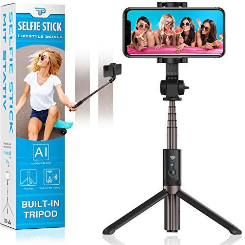 Power Theory Bluetooth Selfie Stick met statief - Remote Selfiestick, geschikt voor Samsung Galaxy S20 S10 S9 S9 + S8 S7 iPhone 11 Pro XR XS Max X 8 7 6s en alle smartphones - Wireless Selfi (68cm)