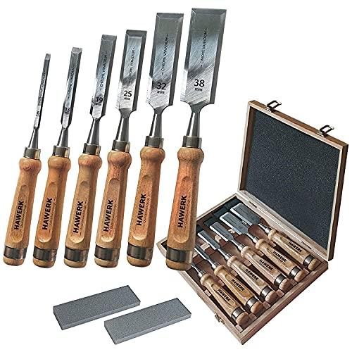 HAWERK 6 Beitel sets voor hout - Houtbewerking Gereedschappen voor Timmerwerk - 6 Delige Houtbeitelset + 2 Slijpstenen + houten Koffer