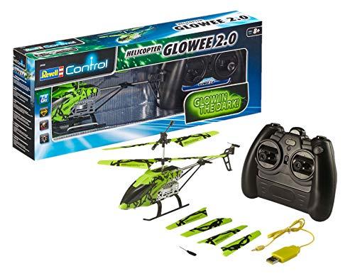 Revell Control 23940 Rc Helicopter Glowee 2.0, 2,4 Ghz, Eenvoudig Te Vliegen, Gyro, Led-Glow-In-The-Dark Effecten, Accu, Afstandsbediening, Helikopter, Groen, 25 Cm
