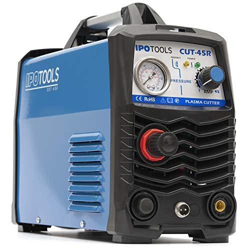 IPOTOOLS Plasmasnijder CUT-45R - plasmasnijmachine 45A tot 12 mm snijvermogen inverter lasapparaat plasma cutter met IGBT/HF-ontsteking/blauw / 230V / 7 jaar garantie