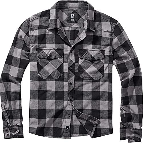 Brandit Checkshirt Flanellen overhemd zwart-antraciet M 100% katoen Basics