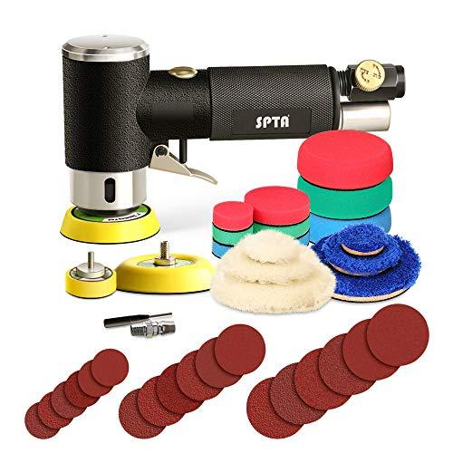 SPTA Mini-polijstmachine, persluchtpolijstmachine, 25 mm, 50 mm, 80 mm, haakse slijper met 23-delige polijstspons polijstpad polijstvel polijstset polijstschijf kit van auto, meubels, metaal ARPS3SET
