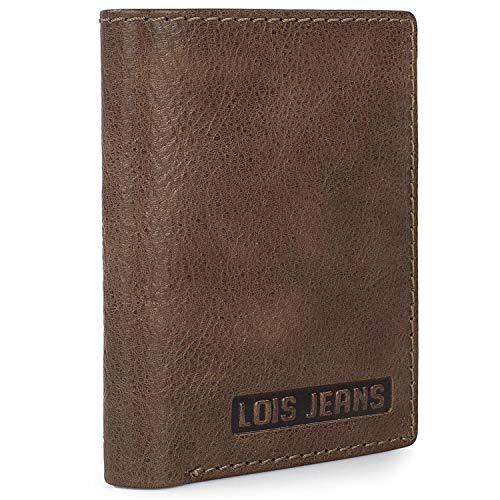 Lois - Herenportemonnee van leer, herenportemonnees, echt leer Echt lederen portemonnee met slanke kaarthouder met 5 slots + 1 muntzak + 2 bankbiljetten RFID PROTECTION 201406, Color Tan