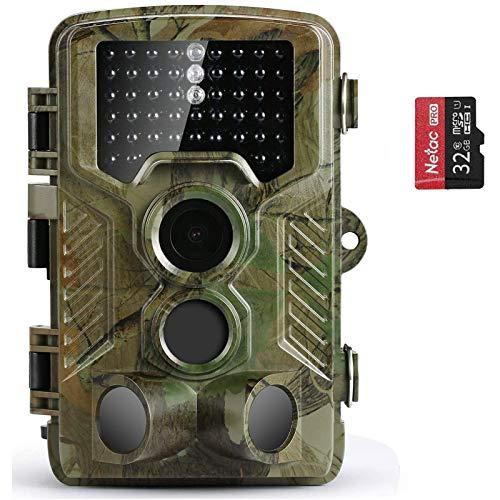 COOLIFE Wildcamera Fotoval 21MP 1080P HD jachtcamera nachtzicht bewegingsmelder IP67 waterdicht & stofdicht 3-zone infraroodsensor 125 ° groothoek nachtzichtcamera met 32G geheugenkaart