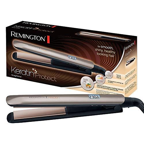 Remington Stijltang Keratin Protect S8540 Essential, Verrijkt met Keratine En Amandelolie, 9 temperatuurstanden, Digitaal Display, Turbo-Boost, Extra Verzorgend Steilen