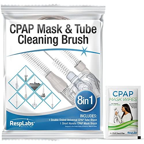 RespLabs Cepillo para tubo CPAP. Sistema 8 en 1 - se adapta a todos los tipos de manguera CPAP - limpieza eficaz, elementos esenciales de higiene, terapia CPAP óptima.