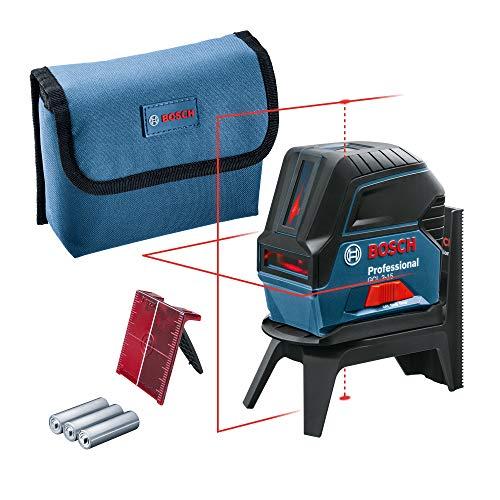 Bosch Professional kruislijnlaser GCL 2-15 (rode laser, met loodpunten, werkbereik: 15 m, 3 AA-batterijen, draaihouder RM 1, laserrichtbord, opbergtas)