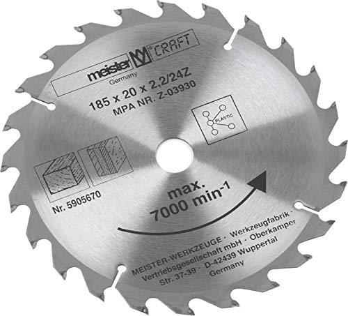 Meister Zaagblad Ø 185 x 20 x 2,2 mm - 24 tanden - Max. 7.000 min-1 - hardmetaal uitgerust - Optimale snijscherpte - Ideaal voor snel zaagblad/cirkelzaagblad/hardmetalen zaagblad / 5905670