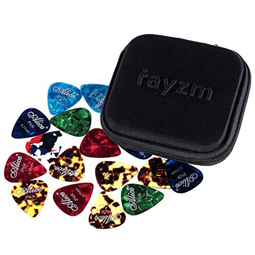 Rayzm Guitar Picks plectrum, celluloid plectrum picks voor gitaar en bas. Verschillende kleuren & 6 verschillende diktes (40 stuks)