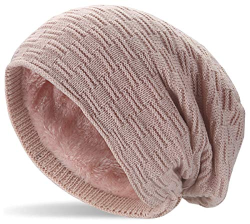 Hatstar Warme gevoerde fijn gebreide beanie voor dames en heren, met vlechtpatroon en zeer zachte fleece binnenvoering, uniseks wintermuts, zacht en warm, 5 | oudroze, One Size