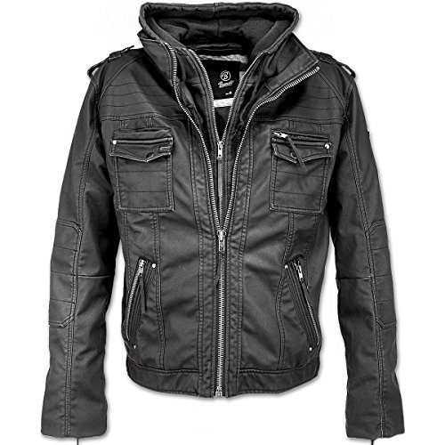 Brandit Black Rock Kunstlederen jas zwart S 100% katoen Casual wear, Rock wear