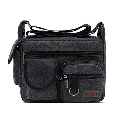 FANDARE Schoudertas, schoudertas, 7,9 inch iPad tas, uniseks, vintage canvas messenger tas voor dames en heren, zwart, Large, schoudertas