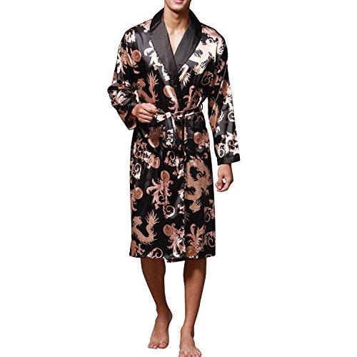 Sidiou Group Nacht gewaad Mannen Kimono badjas satijnen badjas Nachthemd met lange mouwen Badjas Nachtkleding Nachtkleding (Zwart, M)