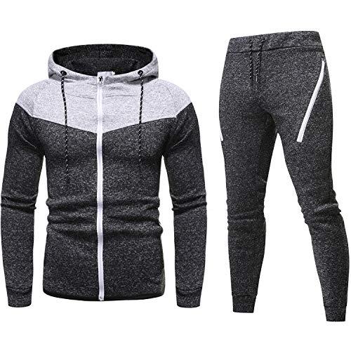 lymoo Heren Trainingspak Lange Mouwen Joggingpak Atletische Sport Casual Full Zip Sweatsuit met Zak - zwart - S
