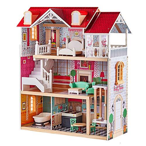 TOP BRIGHT Poppenhuis van hout met meubels met uittrekbare