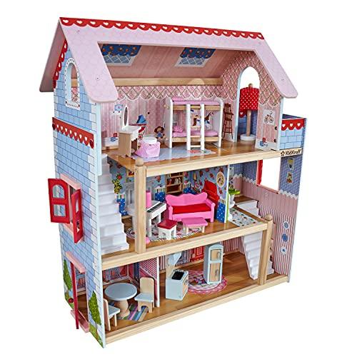 KidKraft 65054 Chelsea vakantiehuis, houten poppenhuis inclusief meubilair en accessoires, 3 verdiepingen hoge speelset voor poppen van 12 cm