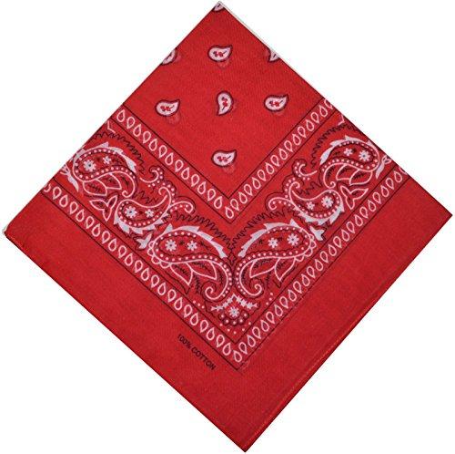 Bandana halsdoek biker Nikki doek sjaal paisley hoofddoek 100% katoen 25 kleuren, rood,
