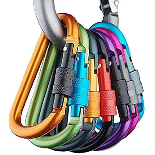 Banner Bonnie - Karabijnhaak van aluminium, sleutelhanger met D-ring, willekeurige kleuren, voor thuis, camper, camping, vissen, wandelen, reizen, 6 stuks
