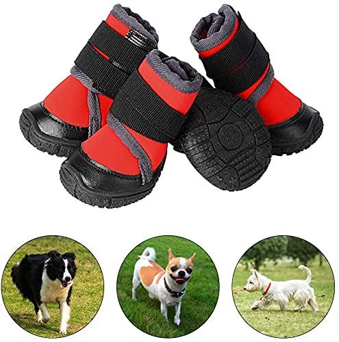 PETLOFT Hondenlaarzen, slipbestendig waterdicht 4 stuks hondenpuppyschoenen voor kleine middelgrote grote honden met verstelbare bevestigingsriem, bescherm huisdierpoten gemakkelijk te dragen (XS, rood)