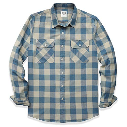 Dubinik® Heren lange mouwen flanellen overhemden Western Fleece Button Down Shirts vrijetijdshemd normale pasvorm, Lichtblauw 1509, S