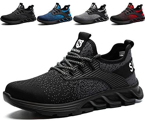 SUADEX Veiligheidsschoenen Dames Heren Werkschoenen mit Staal neus Lichtgewicht Unisex Werkveiligheidsschoenen Ademende (Zwart,40EU)