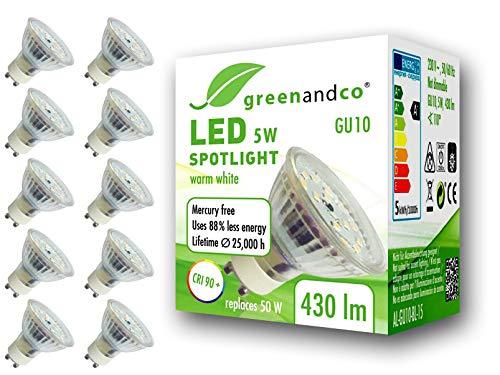 10x greenandco® CRI90+ 3000K 110° LED-spot vervangt 50 Watt GU10 halogeenspot, 5W 430 lumen warmwit 230V AC, flikkervrij, niet-dimbaar