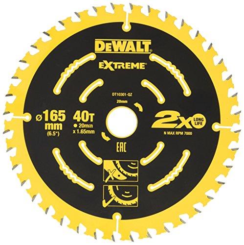 DEWALT Extreme cirkelzaagblad DT10301 (voor handcirkelzagen zonder kloofwig, zaagbladø 165/20 mm, snijbreedte: 1,65 mm, 40 tanden, tandgeometrie: WZ, tandhoek: 18°, voor fijne sneden) 1 stuk
