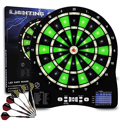 Dartbord Elektronisch Dartbord Elektronisch Dartbord E Dartbord met LED Verlichte Cijfers, Elektronisch Professioneel Dartbord, 6 Soft Darts, Elektronisch Dartbord (green)
