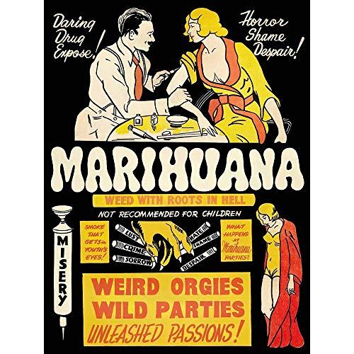 Propaganda Political Drug Abuse Marijuana Weed Weird Art Print Poster Wall Decor 12X16 Inch