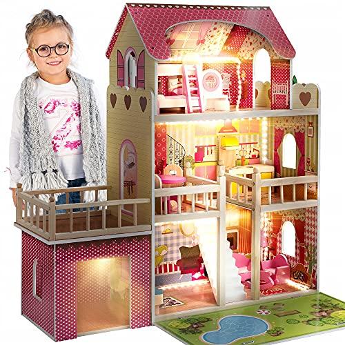 Kinderplay Houten poppenhuis, poppenhuis groot compleet - Barbie Traumvilla, Barbie poppenhuis, Led - Licht en accessoires, set 90 cm hoog met terras, garage, GS0020