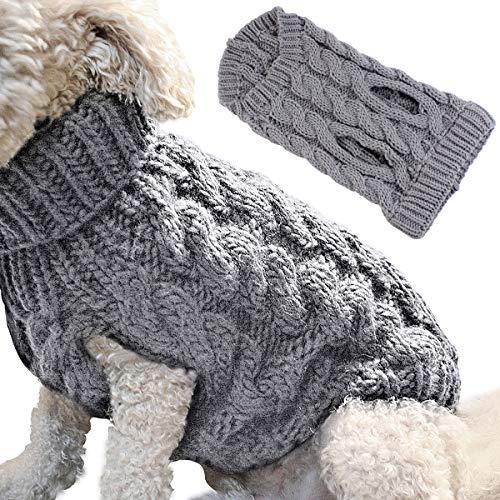 Petyoung Hondentrui, warme jas voor huisdier, zachte gebreide wollen wintertrui voor kleine honden