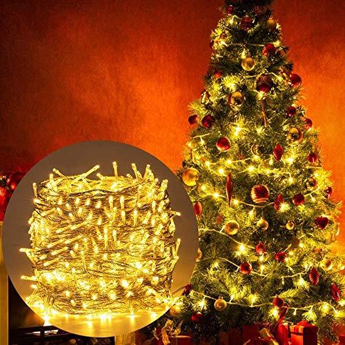 Lichtsnoer met 200 leds, voor binnen en buiten, warm wit, voor kerstboom, Kerstmis, interieur, 8 functietypes, geheugenverlichting, uitbreidbaar, kerstverlichting