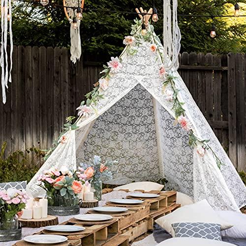 Enorme tipi luxe kant tent voor bruiloft, feest, foto prop (7,5 voet lang) 5-polige kanten luifel voor gebruik binnen en buiten