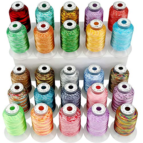 New brothread 25 Bonte Kleuren Polyester Machine Borduurgaren Kit 500M (550Y) Elke Spoel voor Brother Janome Babylock Singer Pfaff Bernina Husqvaran Borduren en Naaimachines