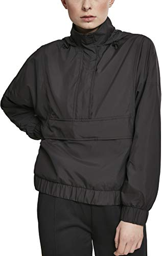 Urban Classics Dames windbreaker lichte overtrekjas dames panel pull-over jas, zwart (Black 00007), S