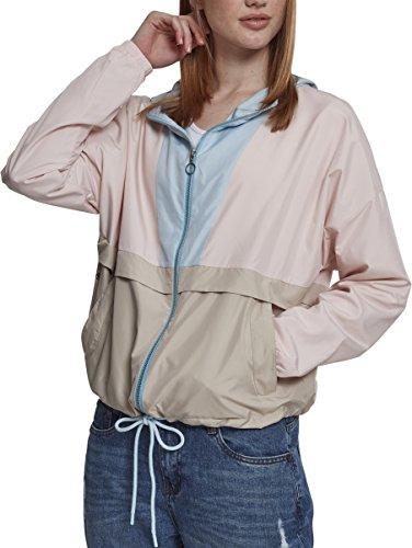 Urban Classics Damesjas overgangsjas dames 3-kleurige oversize windbreaker, lichte streetwear slipjas, color-blocking overtrekjas, meerkleurig (lichtroze/babyblauw/zand 01332), XL