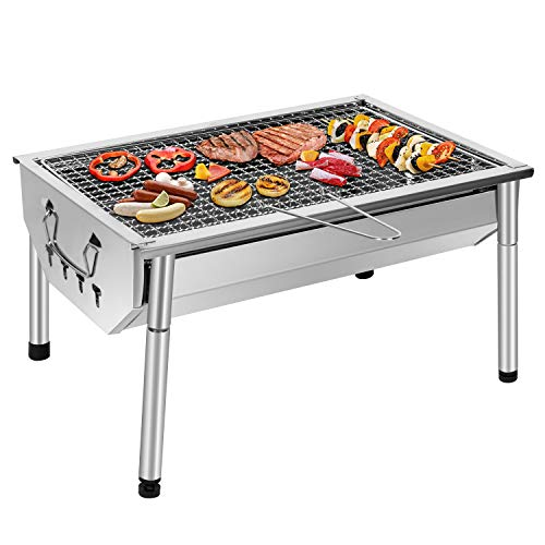 Sunjas Picknickgrill, roestvrij staal, houtskoolgrill, kleine grill, draagbare campinggrill, afneembare BBQ-grills voor outdoor, tuin, feest, enz. (40 x 28 x 21,5 cm)
