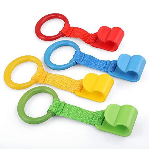 LEADSTAR Ringen voor kinderbedden, 4 stuks babyhandringen handvat afneembare handringen voor baby's en peuters voor beenoefeningen, opstaan in kinderbedden en reisbedden