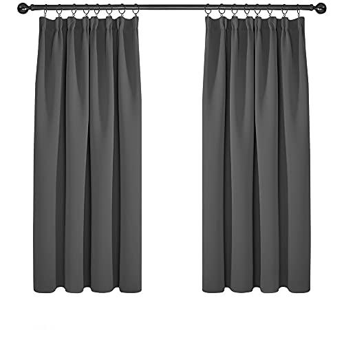 Deconovo Verduisteringsgordijnen Plooiband, 117x138 cm (B x H), Donkergrijs, 2 stuks, Moderne Gordijnen Warmte-isolerend voor Woonkamer, Slaapkamer