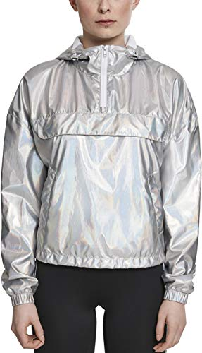 Urban Classics Dames windbreaker jas overgangsjas dames holografische pull-over jas, zilver (Silverholographic 01736)., L