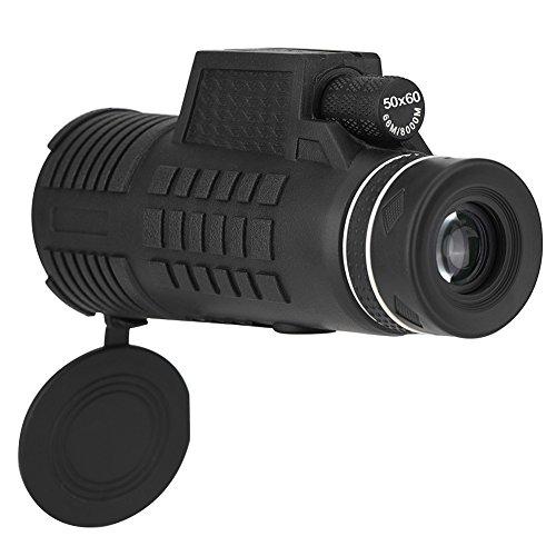 Smartphone mobiele telefoon 50 x 60 monoculaire telescoop, nachtkijker met statief, beugel, HD volledig optische lens, groothoek, waterdicht schokbestendig voor kamperen, vogels kijken, wandelen