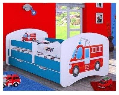 naka24 Kinderbed met matras en bedlade voor jongens (160x80 cm, brandweer)