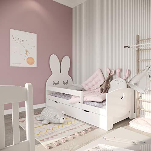 NeedSleep valbescherming kinderbed compleet - bed met matras 70x140 80x160 lattenbodem en lade | voor kinderen vanaf 2 jaar | meisjes jongen | Montessori kinderkamer functioneel bed | witte konijn (witte, 70 x 140)